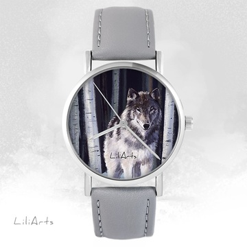 LiliArts watch - Gray wolf - gray, leather