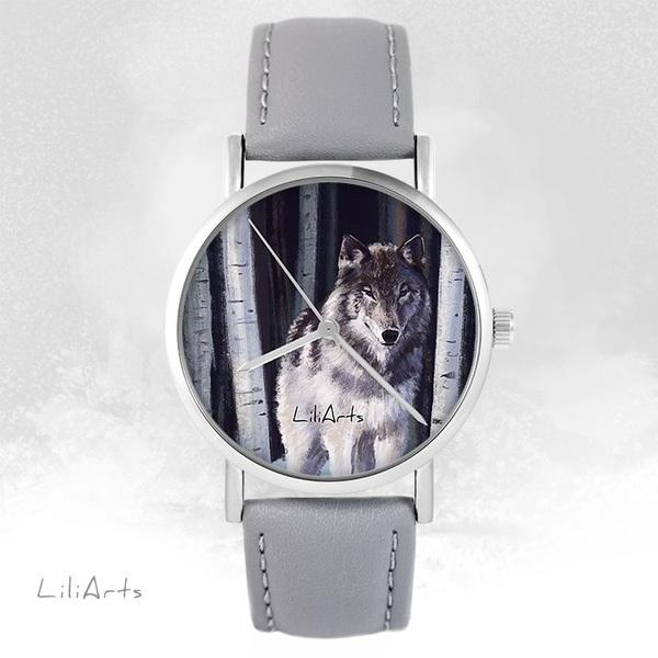 Zegarek LiliArts - Szary wilk - szary, skórzany