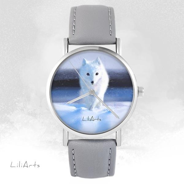 Zegarek LiliArts - Śnieżny lis - szary, skórzany