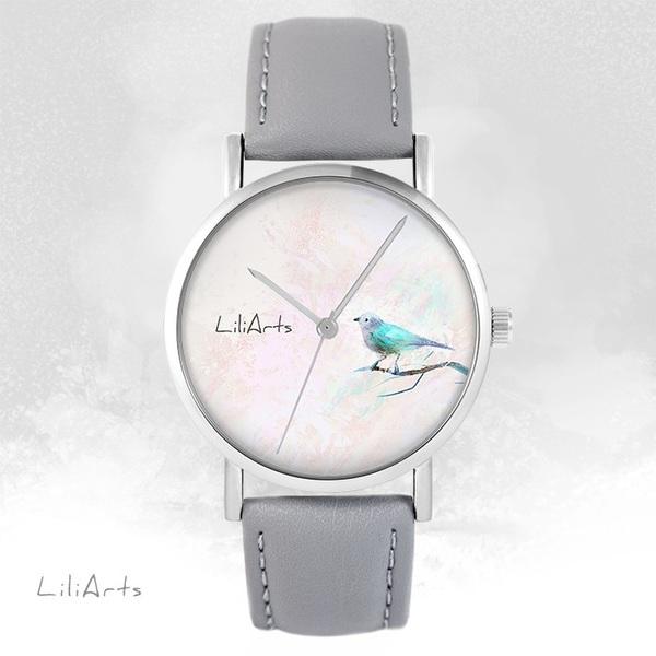 Zegarek LiliArts - Turkusowy ptaszek - szary, skórzany