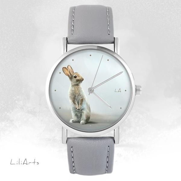 Zegarek LiliArts - Zając - szary, skórzany