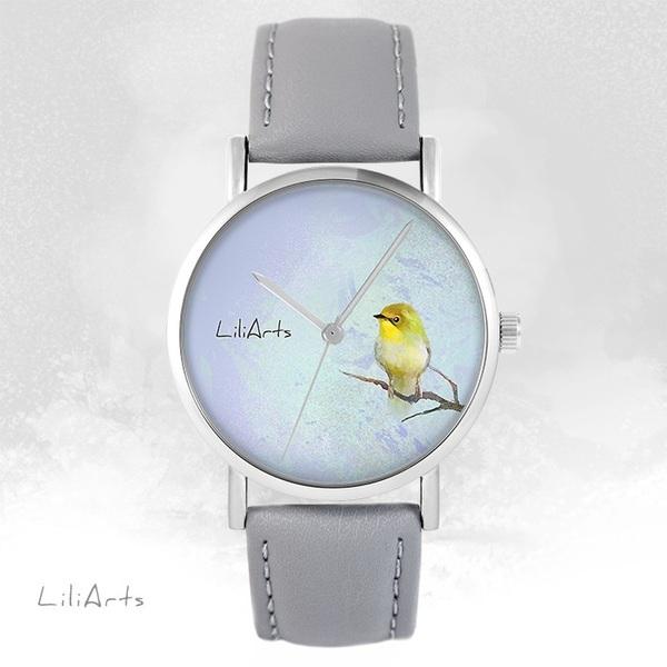 Zegarek LiliArts - Żółty ptaszek - szary, skórzany