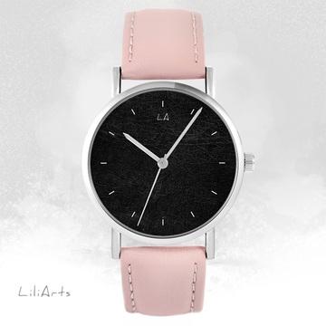 LiliArts watch - Black - powder pink, leather
