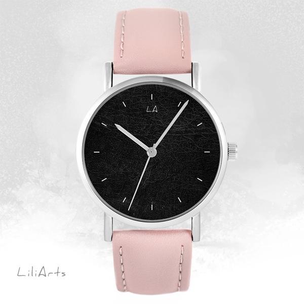 Zegarek LiliArts - Czarny - pudrowy róż, skórzany
