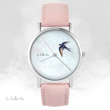LiliArts watch - Swallow - powder pink, leather