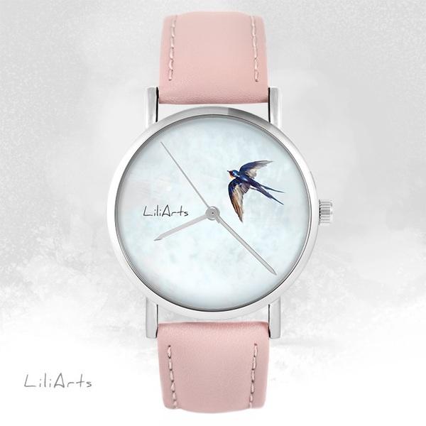Zegarek LiliArts - Jaskółka - pudrowy róż, skórzany