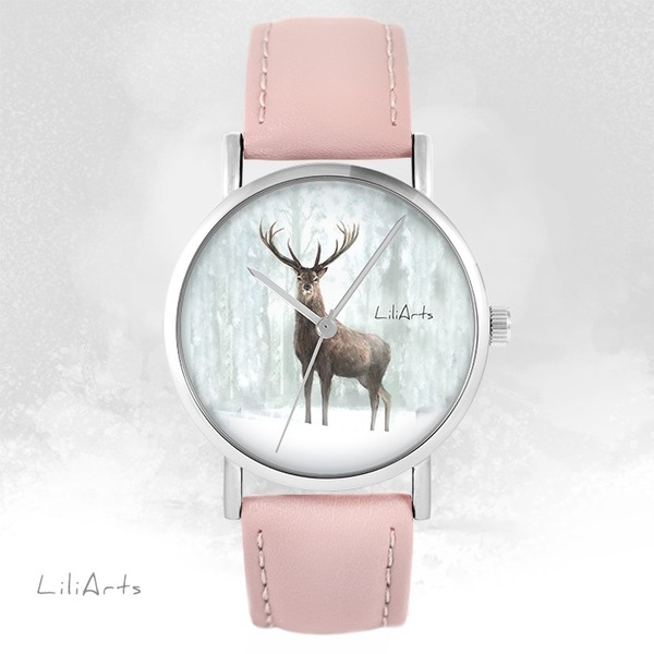 LiliArts - Deer 3 watch - powder pink, leather