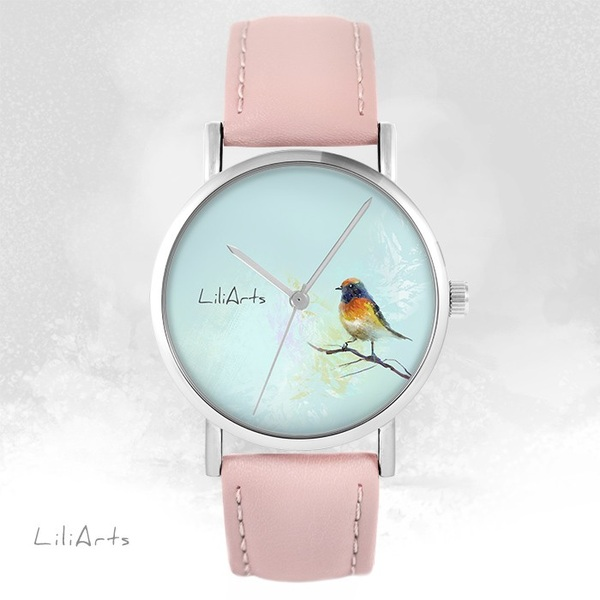 LiliArts watch - Colorful bird - powder pink, leather