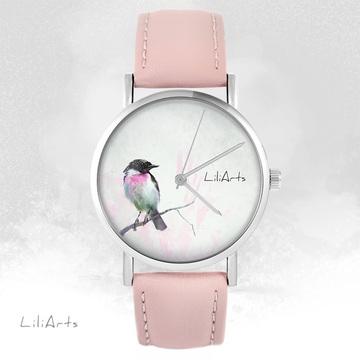 LiliArts watch - Pastel bird - powder pink, leather