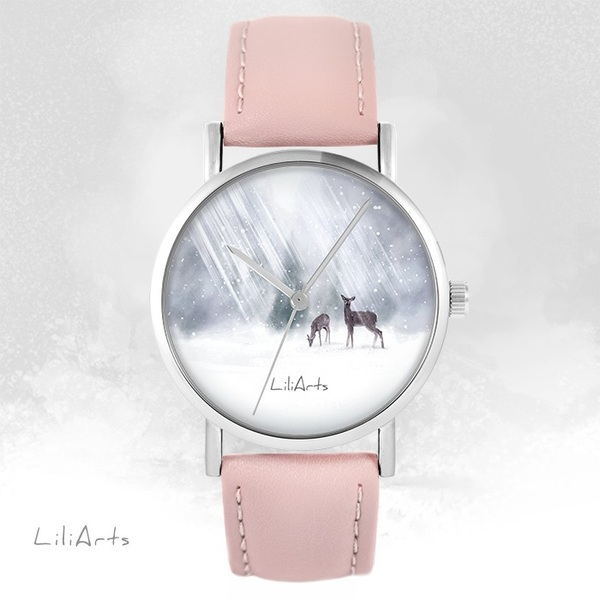 LiliArts - Roe-deer watch - powder pink, leather