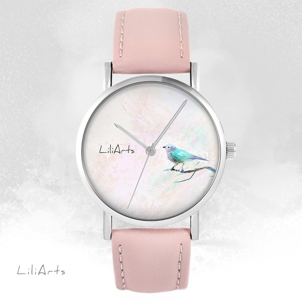 LiliArts watch - Turquoise bird - powder pink, leather