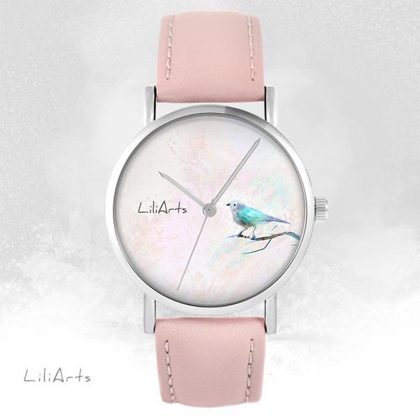 Zegarek LiliArts - Turkusowy ptaszek - pudrowy róż, skórzany