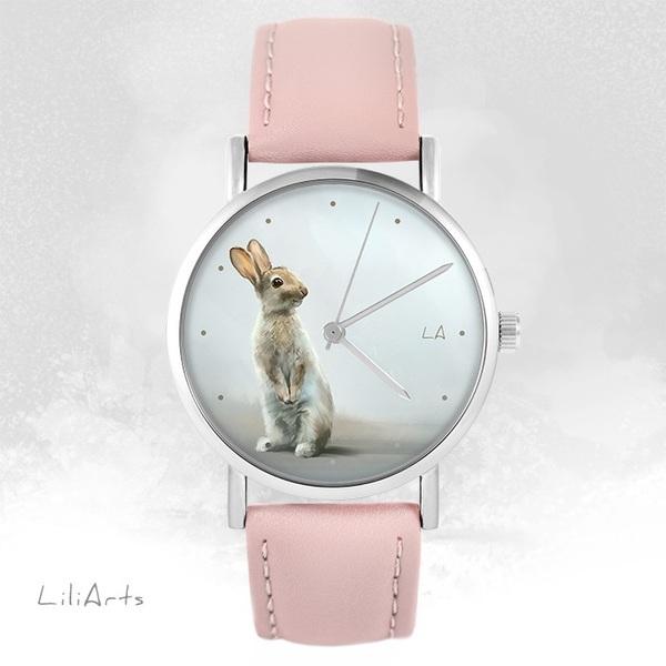 Zegarek LiliArts - Zając - pudrowy róż, skórzany