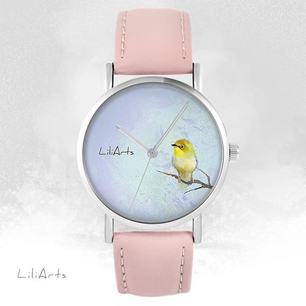 Zegarek LiliArts - Żółty ptaszek - pudrowy róż, skórzany