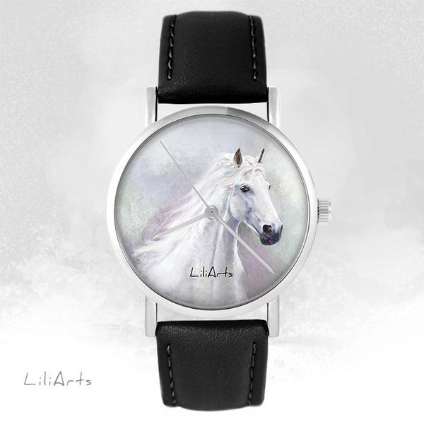 Zegarek LiliArts - Biały koń - czarny, skórzany