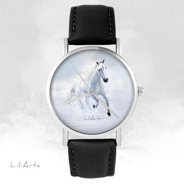 Zegarek LiliArts - Biały koń biegnący - czarny, skórzany