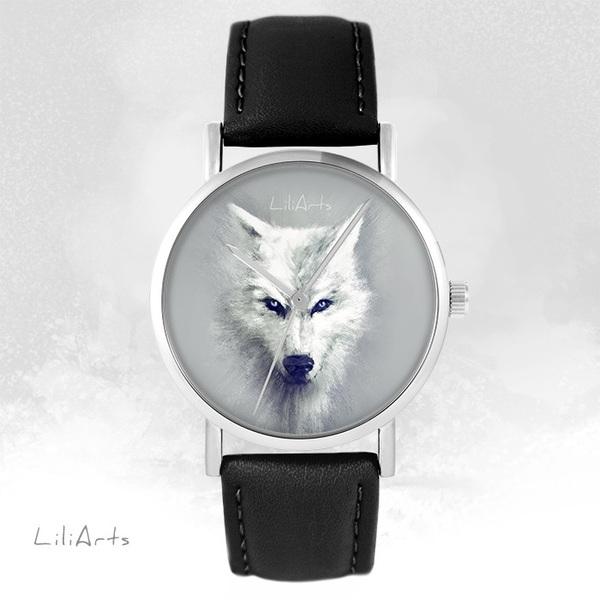 Zegarek LiliArts - Biały Wilk - czarny, skórzany