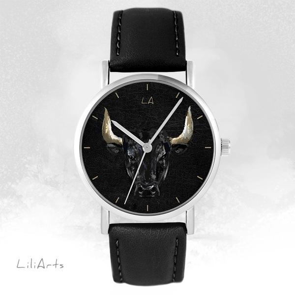 Zegarek LiliArts - Byk - czarny, skórzany