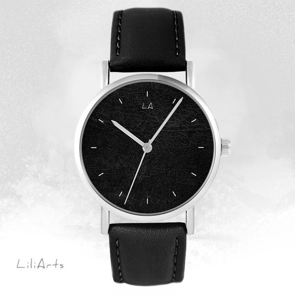 Zegarek LiliArts - Czarny - czarny, skórzany