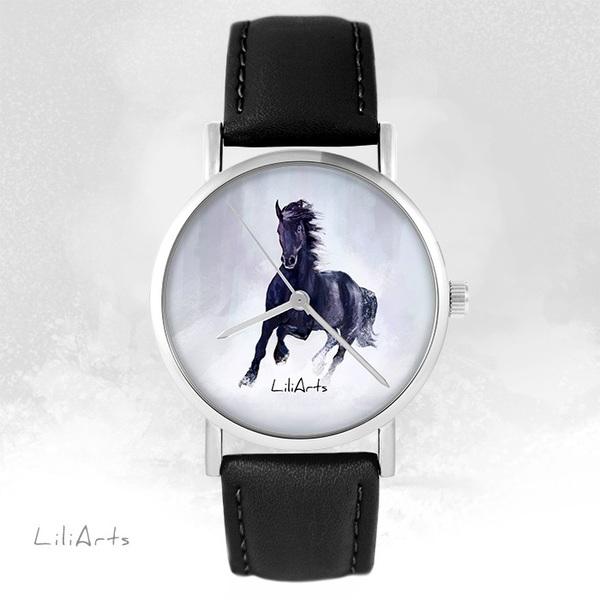 Zegarek LiliArts - Czarny koń - czarny, skórzany