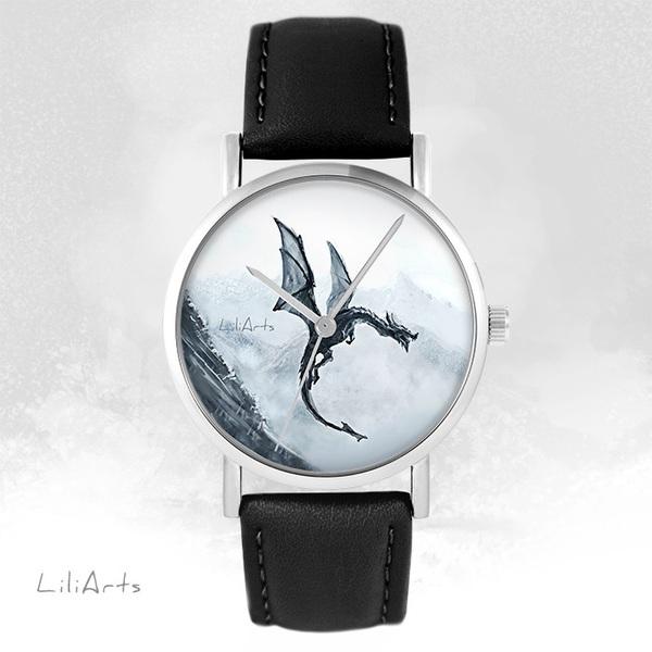 Zegarek LiliArts - Czarny smok - czarny, skórzany