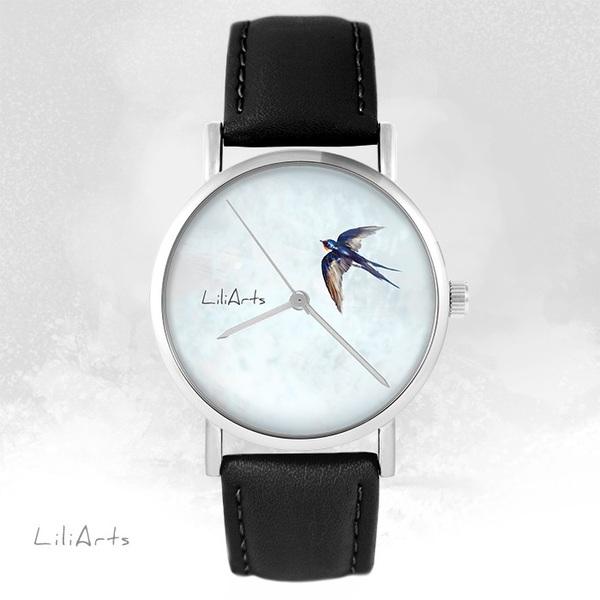 Zegarek LiliArts - Jaskółka - czarny, skórzany