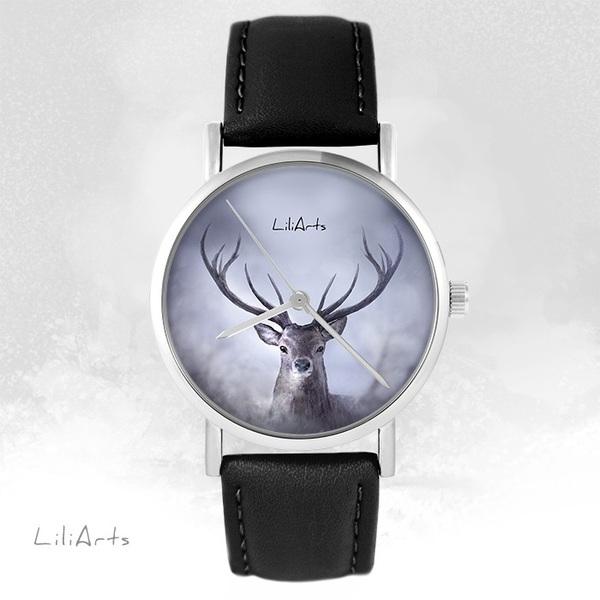 Zegarek LiliArts - Jeleń 1 - czarny, skórzany