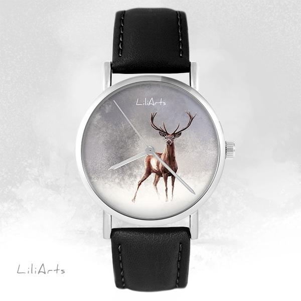 Zegarek LiliArts - Jeleń 2 - czarny, skórzany