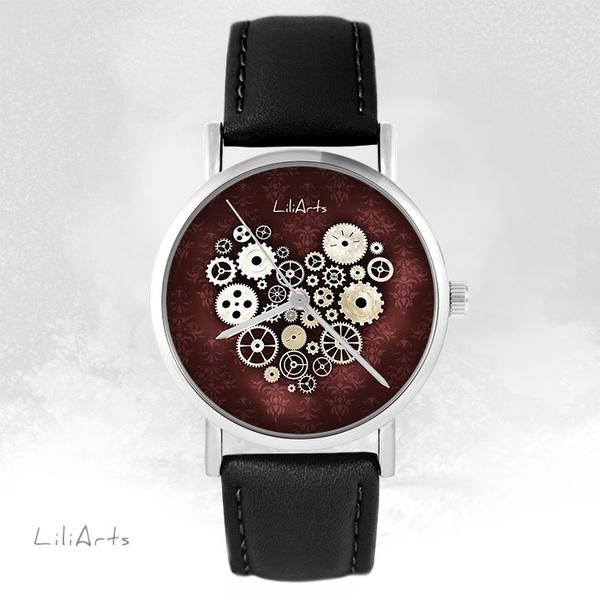 Zegarek LiliArts - Serce Steampunk - czarny, skórzany