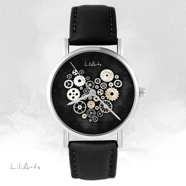 Zegarek LiliArts - Serce Steampunk czarne - czarny, skórzany