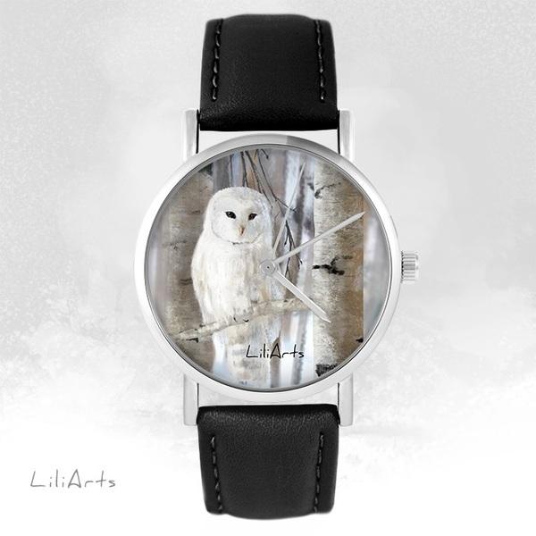 Zegarek LiliArts - Sowa - czarny, skórzany