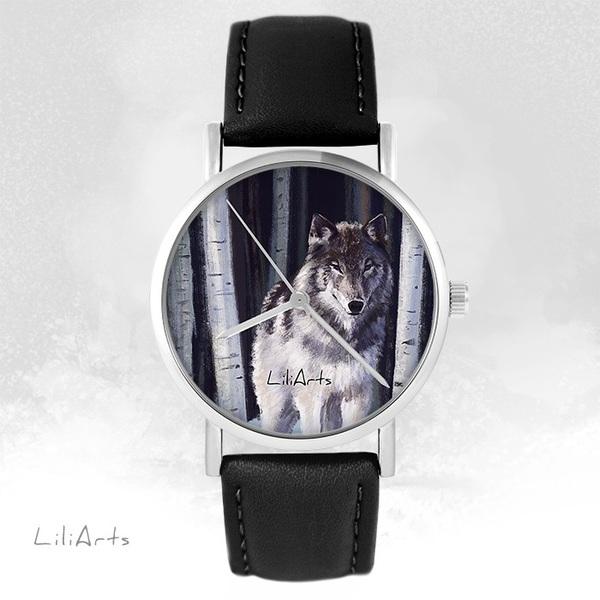 Zegarek LiliArts - Szary wilk - czarny, skórzany