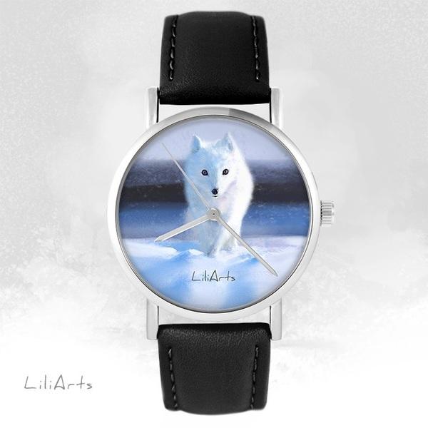Zegarek LiliArts - Śnieżny lis - czarny, skórzany