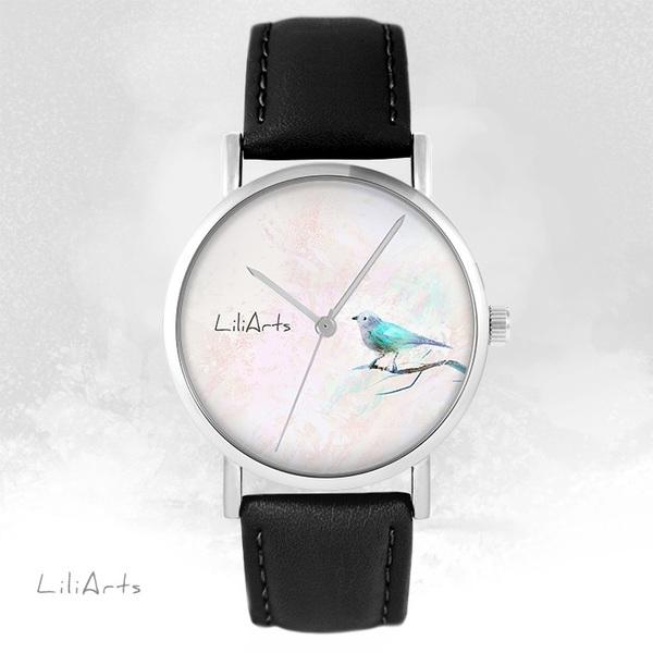 Zegarek LiliArts - Turkusowy ptaszek - czarny, skórzany
