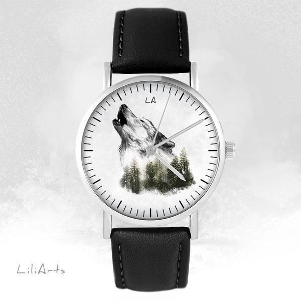 Zegarek LiliArts - Wilk - Into The Wild - czarny, skórzany