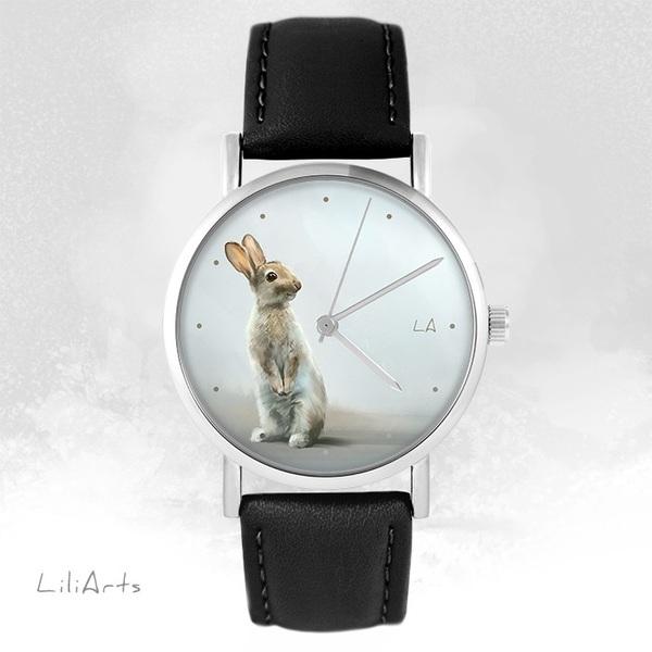 Zegarek LiliArts - Zając - czarny, skórzany