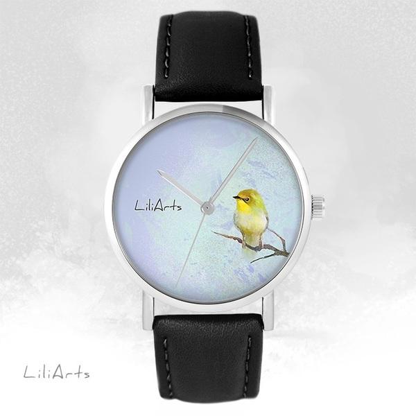 Zegarek LiliArts - Żółty ptaszek - czarny, skórzany
