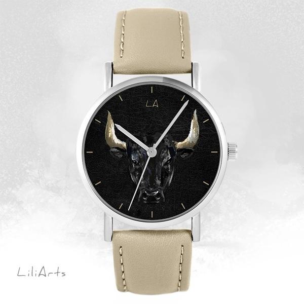 Zegarek LiliArts - Byk - beżowy, skórzany