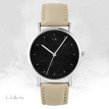 LiliArts watch - Black - beige, leather