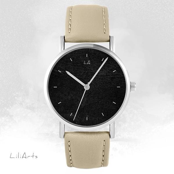 Zegarek LiliArts - Czarny - beżowy, skórzany