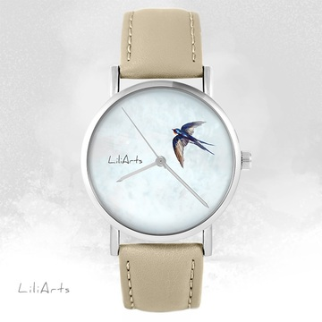 LiliArts watch - Swallow - beige, leather