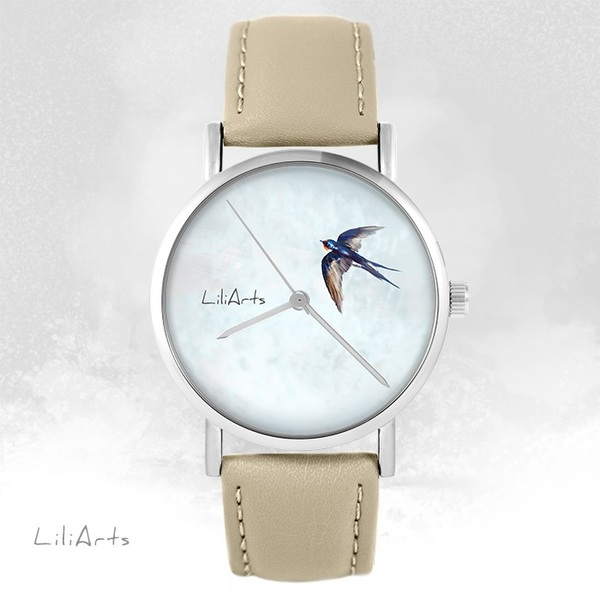 LiliArts watch - Swallow - beige, leather