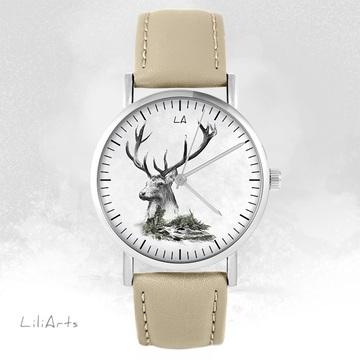 Zegarek LiliArts - Jeleń - Into The Wild - beżowy, skórzany
