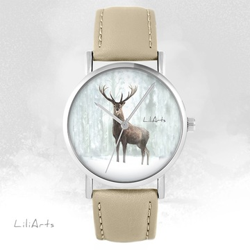 LiliArts - Jeleń 3 watch - beige, leather
