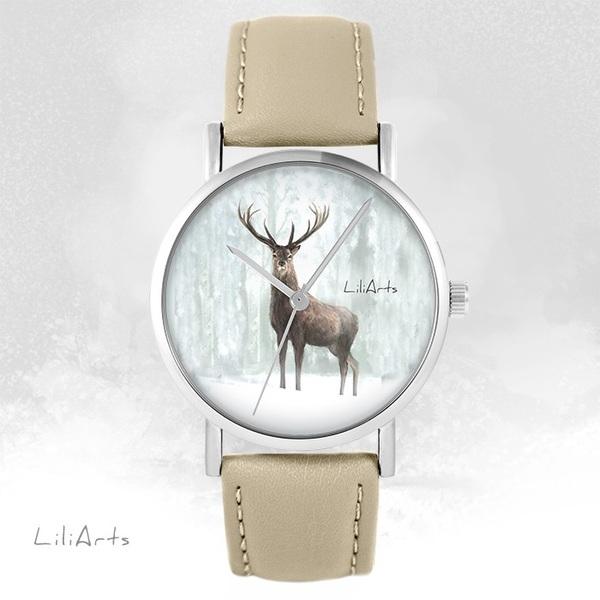 Zegarek LiliArts - Jeleń 3 - beżowy, skórzany
