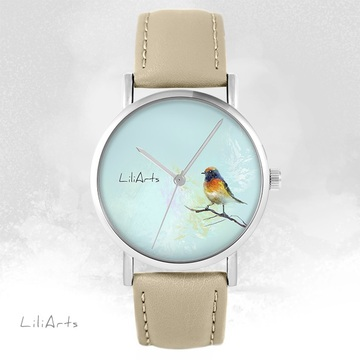 LiliArts watch - Colorful bird - beige, leather