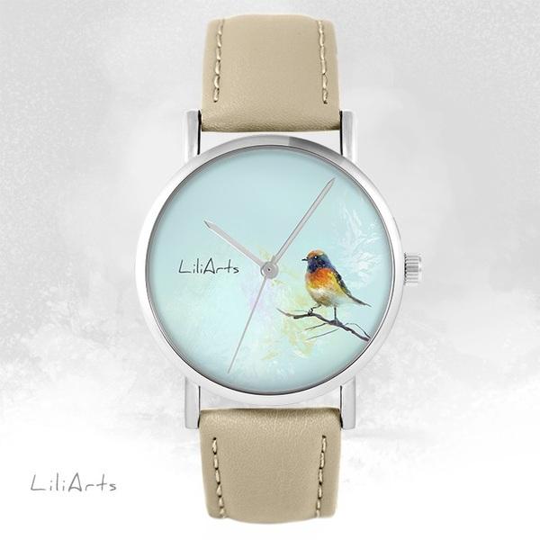 Zegarek LiliArts - Kolorowy ptaszek - beżowy, skórzany