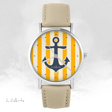 LiliArts watch - Anchor - beige, leather
