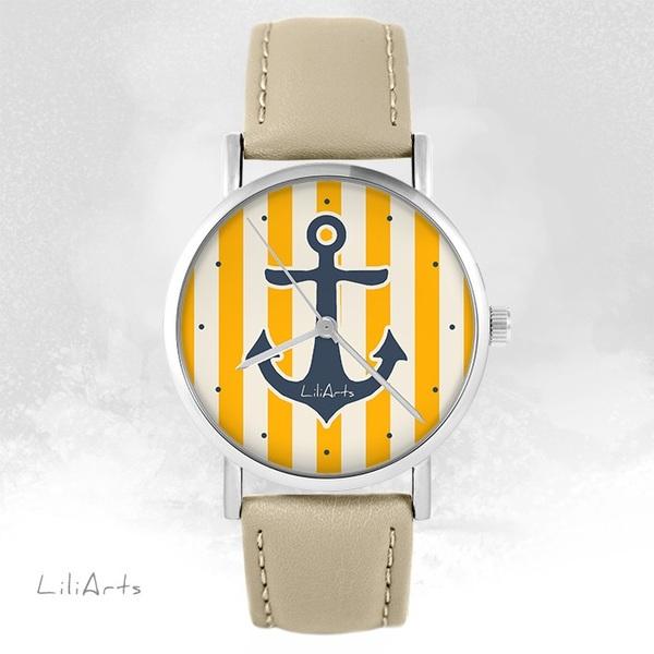 Zegarek LiliArts - Kotwica - beżowy, skórzany