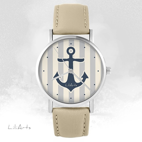 LiliArts watch - Gray anchor - beige, leather